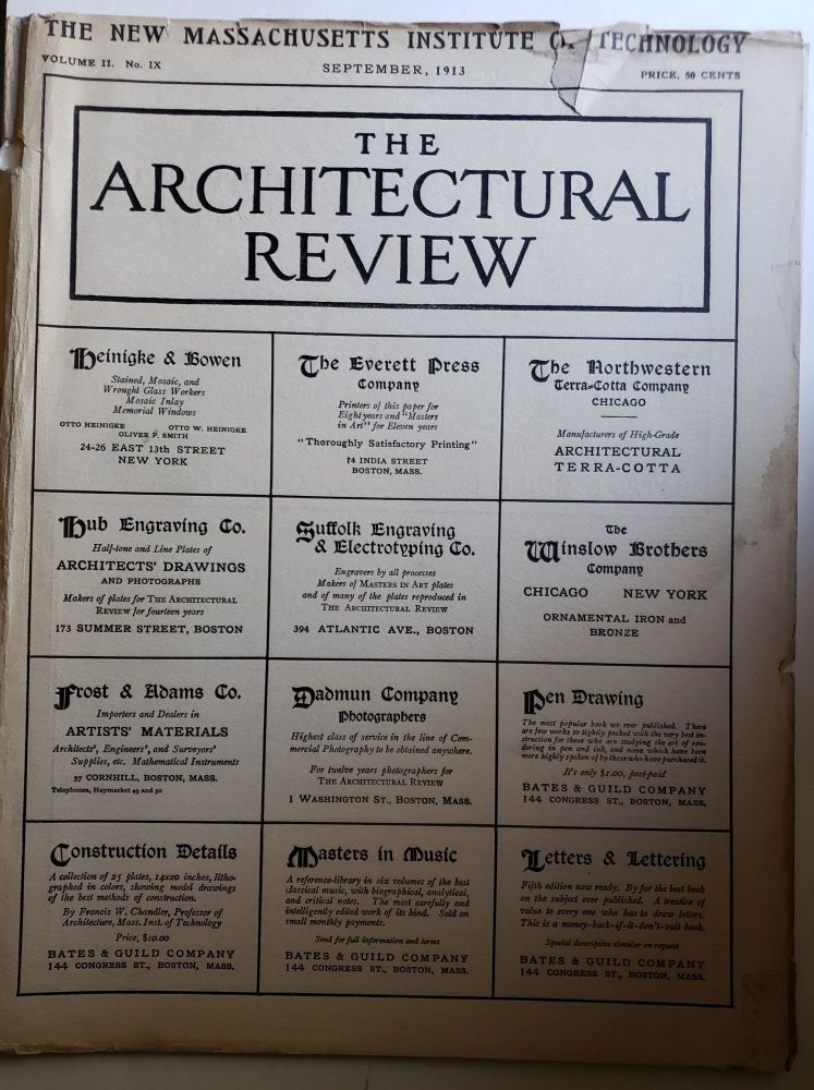 The Architectural Review, Volume II, No IX September, 1913. Bates, Guild.