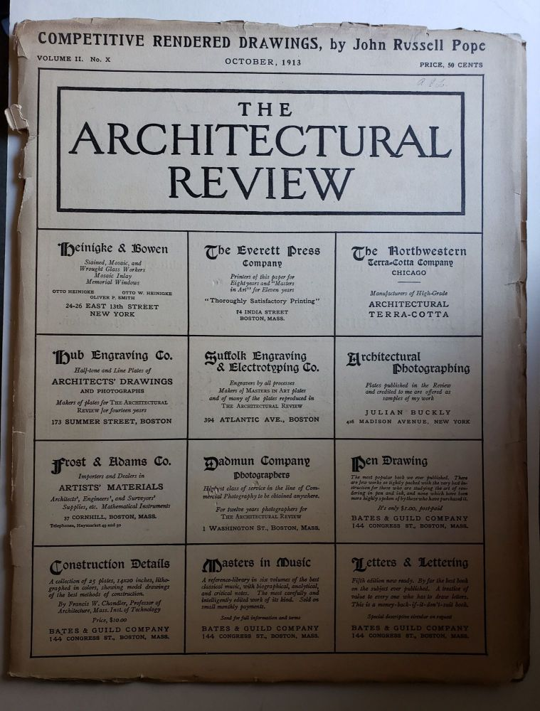 The Architectural Review, Volume II, No X October, 1913. Bates, Guild.