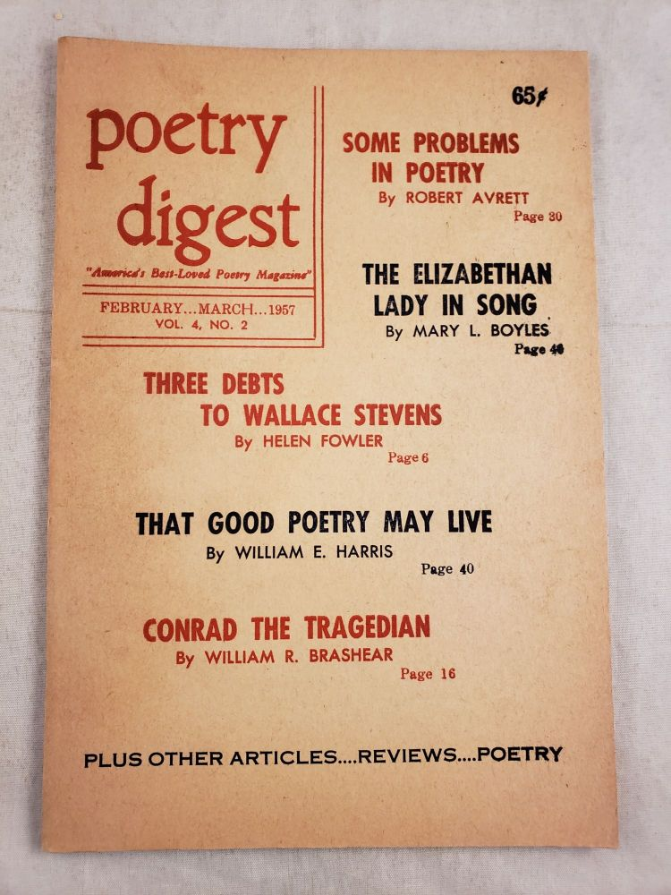 Poetry Digest February - March 1957 Vol. 4, No. 2. John edited and De Stefano.