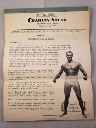 Health and Strength Course: Lesson 11 Exercises For Wrist and Fingers. Charles Atlas