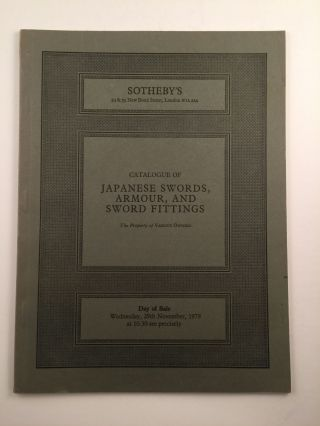 Japanese Swords, Armour, And Sword Fittings. 1978 London: Sotheby's November 29