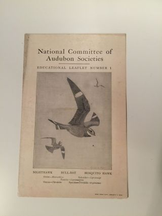 National Committee Of Audubon Scoieties Educational Leaflet Number 1 Nighthawk Bull-Bat Mosquito Hawk. F. E. L. Beal.