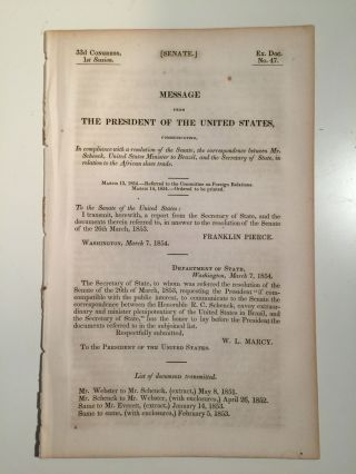 33d Congress, 1st Session. Senate. Ex. Doc. No. 47. Message From The President Of The United...