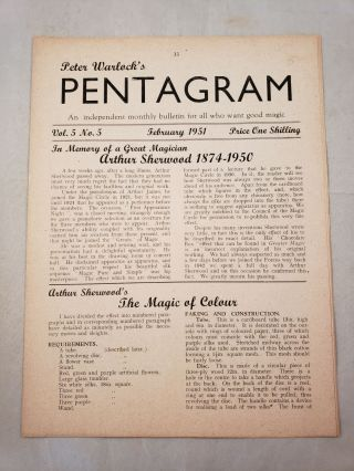 Peter Warlock's Pentagram. Volume 5 No. 5 February 1951. Peter Warlock