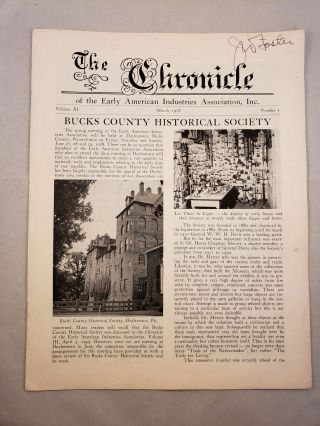 The Chronicle of the Early American Industries Association Volume XI Number 1 March 1958. W. D....