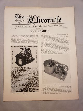 The Chronicle of the Early American Industries Association Volume XI Number 4 December 1958. W....