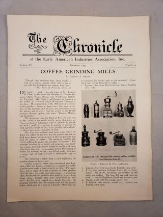 The Chronicle of the Early American Industries Association Volume XII Number 4 December 1959....