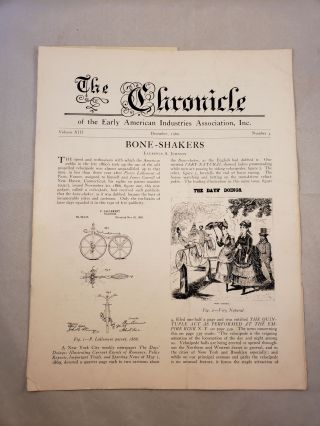 The Chronicle of the Early American Industries Association Volume XIII Number 4 December 1960....