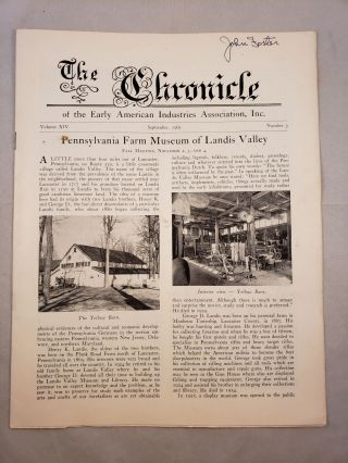 The Chronicle of the Early American Industries Association Volume XIV Number 3 September 1961....