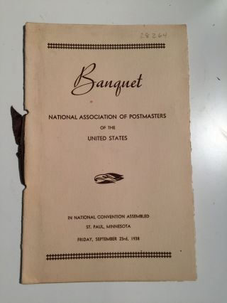 Program and menu for the Banquet of the National Association of Postmasters of the United States...