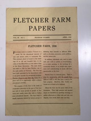 Fletcher Farm Papers Vol. III No I April, 1936. N/A