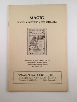 Magic Books Posters Periodicals - Swann Galleries, New York - June 5, 1986. Swann Galleries