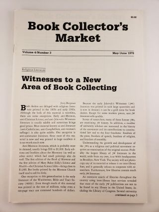 Book Collector's Market, Vol 4, No.3, May/June, 1979. Denis Carbonneau