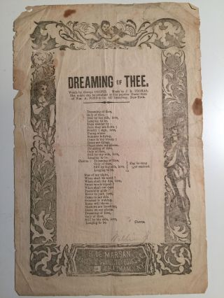Dreaming Of Thee (Broadside). George Cooper, J. R. Thomas.