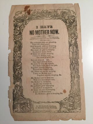 I Have No Mother Now (Broadside). H. A. Clark.