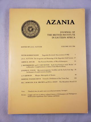 Azania, Journal of the British Institute in Eastern Africa, Volume XXI: 1986. J E. G. Sutton