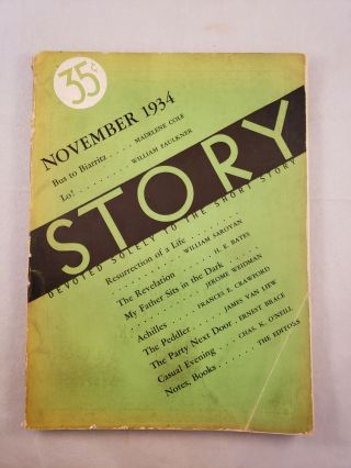 Story Devoted Solely to the Short Story November 1934 Vol. V No. 28. Whit Burnett, Martha Foley