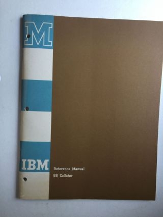 IBM Reference Manual 88 Collator. IBM
