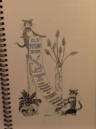 Old Possum's Book of Practical Cats Calendar for 1991 with excerpts from the poems by T.S. Eliot